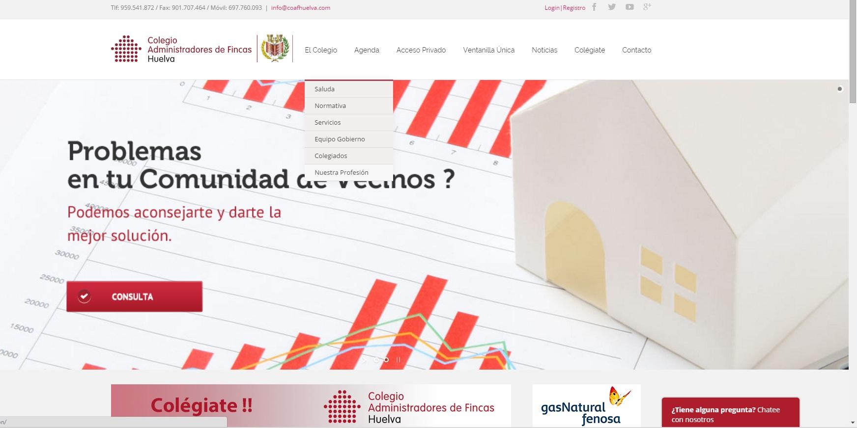 Nueva web colegio de administradores de fincas de huelva for Administradores de fincas en leon